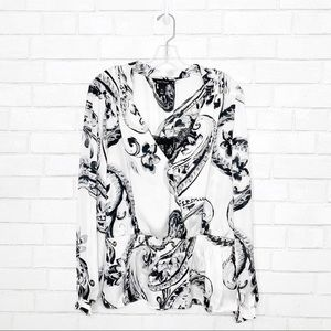 White House black market silky smock waist blouse